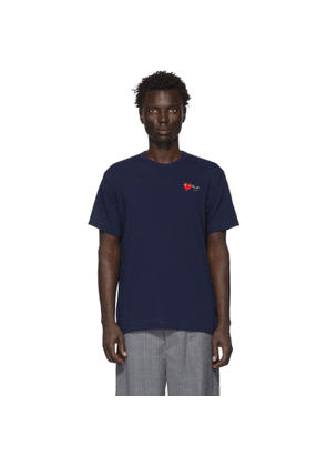 Comme des Garcons Play Navy Double Heart T-Shirt