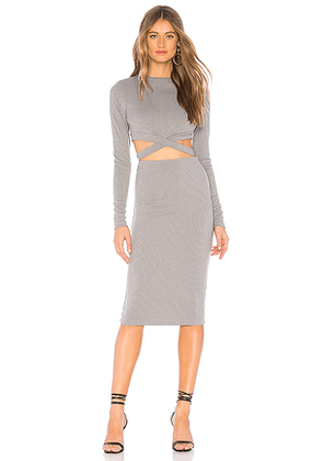 by the way. Christa Cut Out Midi Dress in Gray. Size XXS.