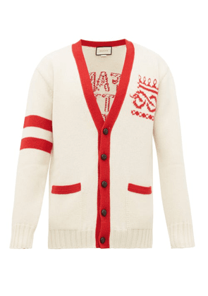 Gucci - Far Better Not Slogan-jacquard Wool Cardigan - Mens - Red White