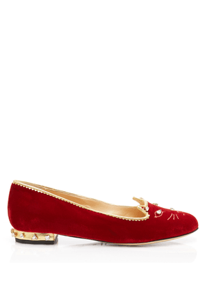 Charlotte Olympia Flats Women - BEJEWELLED KITTY FIRE RED&CRYSTAL Velvet 41