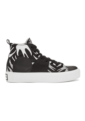 McQ Alexander McQueen Black and White Plimsoll Platform High Sneakers