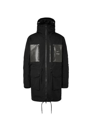 Nike - + Undercover Logo-print Coated-twill Parka With Detachable Quilted Down Liner - Black