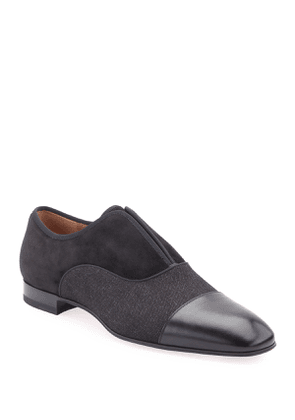Men's Alpha Male Leather/Fabric Slip-Ons