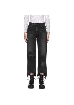 R13 Black Cropped High-Rise Camille Jeans