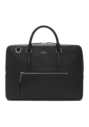 Smythson Black Large Grain Front Zip Briefcase