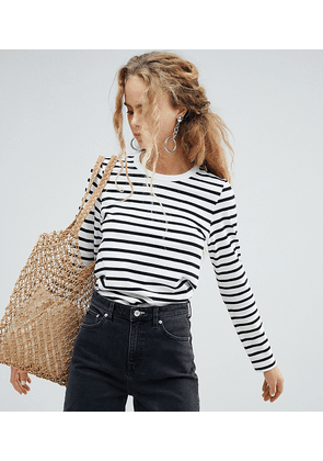 Weekday long sleeve stripe top in black and white