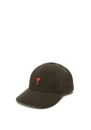Ami - Ami De Coeur-appliqué Cotton Baseball Cap - Mens - Dark Brown