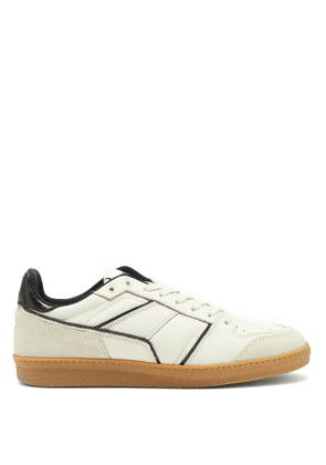 Ami - Logo-embroidered Leather Trainers - Mens - White Black