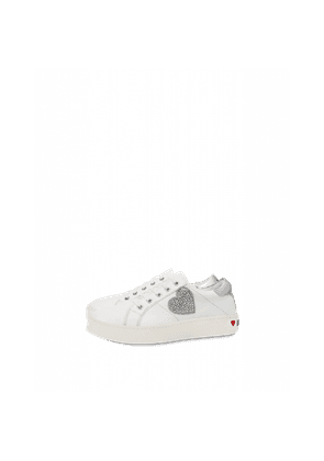Leather Sneakers With Rhinestone Heart