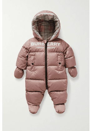 Burberry Kids - Hooded Printed Quilted Shell Down Onesie - Pink