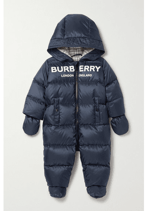 Burberry Kids - Months 1 - 18 Hooded Printed Quilted Shell Down Onesie