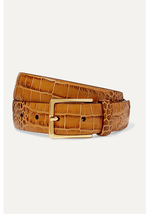 Anderson's - Croc-effect Leather Belt - Tan