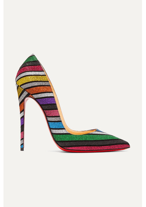 Christian Louboutin - So Kate 120 Striped Glittered Suede Pumps - Metallic