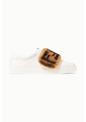 Fendi - Shearling-trimmed Leather Sneakers - White