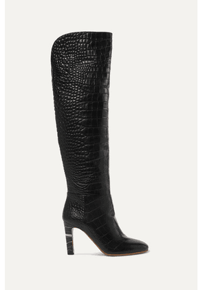 Gabriela Hearst - Linda Croc-effect Leather Over-the-knee Boots - Black