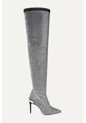Balmain - Odalys Crystal-embellished Suede Over-the-knee Boots - Silver
