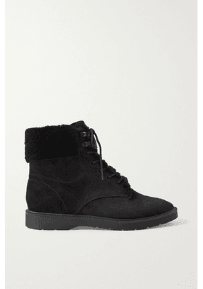 Vince - Hayes Shearling-trimmed Suede Ankle Boots - Black