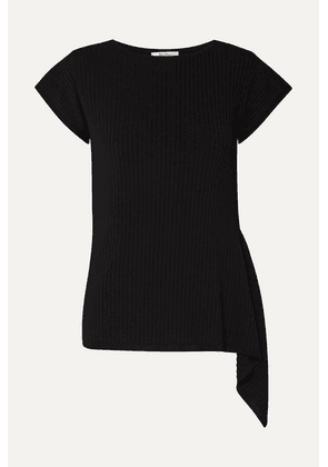 Max Mara - Ugolina Draped Asymmetric Ribbed-knit Top - Black