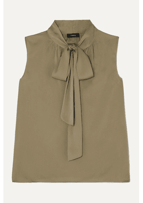 Theory - Pussy-bow Silk-blend Crepe De Chine Top - Army green