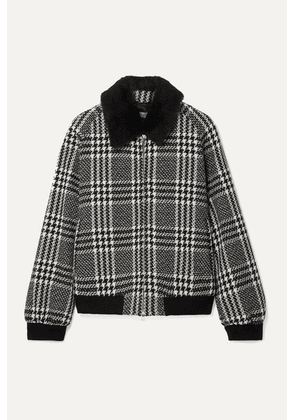 Max Mara - Faux Fur-trimmed Houndstooth Wool-tweed Bomber Jacket - Black