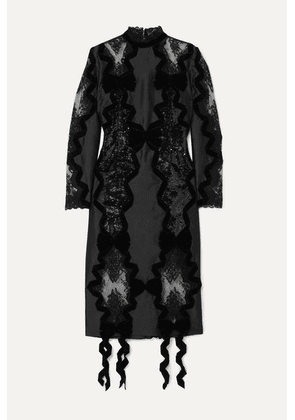 Erdem - Diletta Velvet-trimmed Sequined Satin And Lace Midi Dress - Black