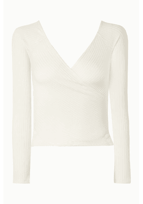 Reformation - Minnie Wrap-effect Ribbed Stretch-tencel Top - Cream