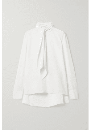 Adam Lippes - Pussy-bow Satin-trimmed Crepe Blouse - Ivory