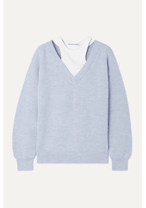 alexanderwang.t - Layered Merino Wool And Stretch Cotton-jersey Sweater - Sky blue