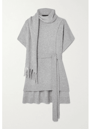 Proenza Schouler - Belted Draped Cashmere Sweater - Light gray