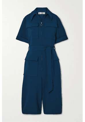 Victoria, Victoria Beckham - Belted Cropped Cady Jumpsuit - Petrol