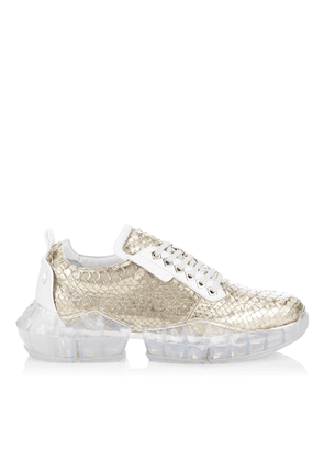 DIAMOND/M Sterling Silver Dipped Python Trainers with Chunky Platform