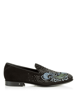 THAME Fine Black Suede Slipper with Embroidery and Studs
