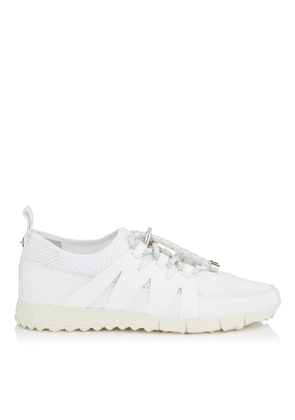 NIJA White Leather Mix and Grey Mesh Trainer with Cord Toggle