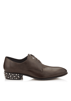JACKSON Soil Vachetta Leather Lace-up Formal Shoe with Metal Mix Studded Heel