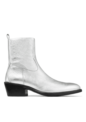 JESSE Silver Metallic Vachetta Leather Boots with Laser Detail