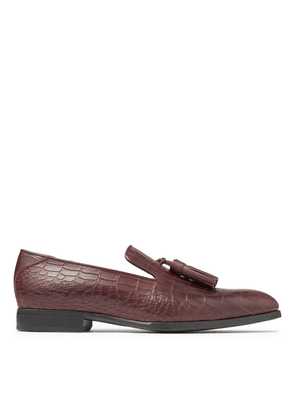 FOXLEY Maroon Croc Embossed Leather Loafers