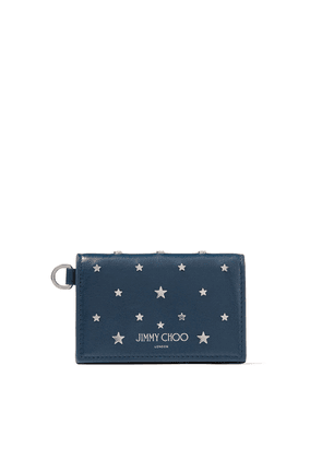 CLIFFY Indigo Leather Card Holder with Silver Flat Star Stud Design