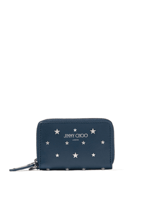 DANNY Indigo Leather Small Zip Around Wallet with Silver Flat Star Studs