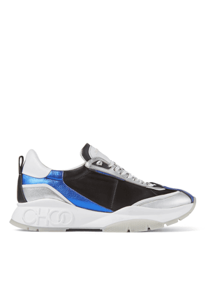 RAINE/M Pop Blue Mix Metallic Leather and Satin Sneakers