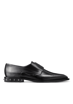 STEFAN Black Brush Off Metallic Leather Shoes with Bolt Stud Heel and Metallic sole
