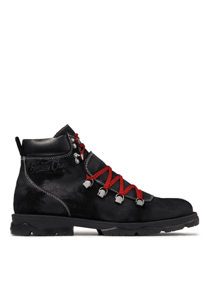 BARRA Black Oiled Suede Hiker Boots