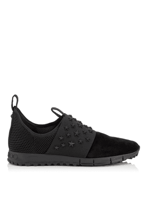 OAKLAND/M Black Suede and Mesh Sock-Like Trainers with Black Elastic and Black Matte Enamel Stars Detailing