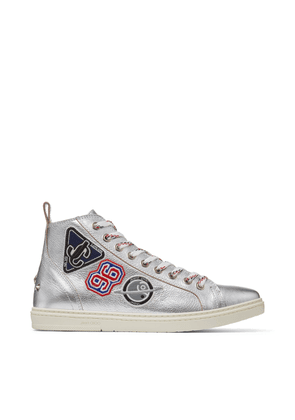 COLT Silver Grainy Leather High Top Trainers with Embroidered Badges