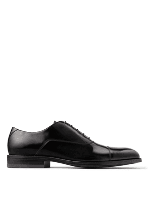 FALCON Black Brush-Off Leather Oxford Shoes with Crystals