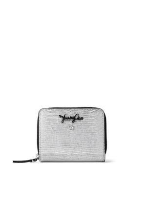 ANISE Silver Metalized Lizard Print Zip-Around Wallet