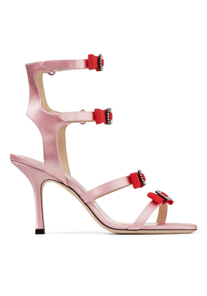 LETRICE 85 Pink Satin Strappy Sandals with Grossgrain and Crystal Bows