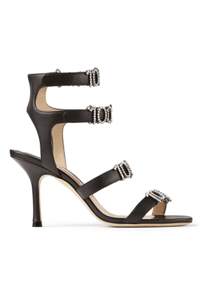 ALEXANDRA 85 Black Nappa Leather Strappy Sandals with 100% Crystal Detailing