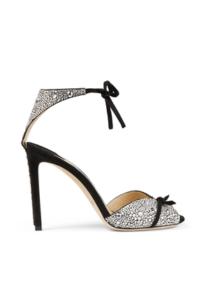 TALAYA 100 Black Suede Sandals with Crystal Hot Fix