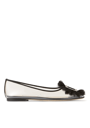 ENID FLAT Clear Square-Toed Ballerina Flat with Crystal and Lace Buckle