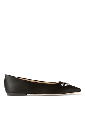 HEATHER FLAT Black Satin Square-Toed Ballerina Flat with 100% Girls Crystal Detailing